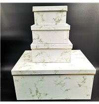 Giftboxes Marble Look White (10pc)
