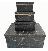 Giftboxes Marble Look Black (10pc)