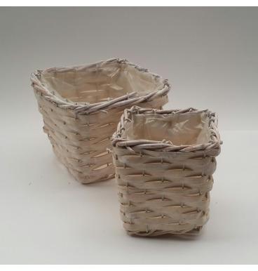Square baskets whitewashed