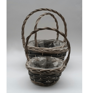 Dark brown round handled basket 3 piece set