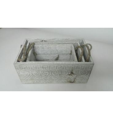 Pattern white lace crate set 3 piece