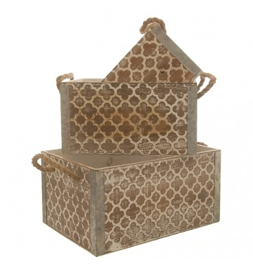 Rope handled brown pattern crates 3 piece
