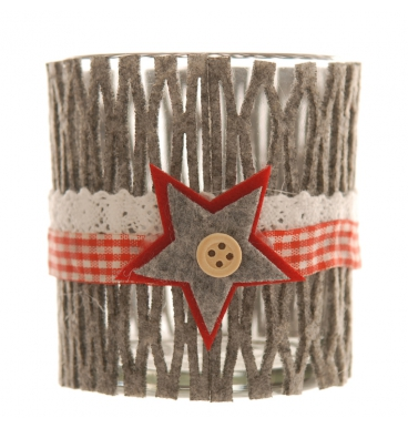 Grey felt star candle holder with votive