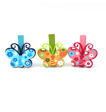 Flower butterfly pegs assorted colours