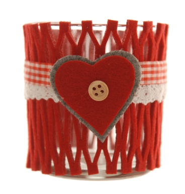 Felt red heart candle holder with votive