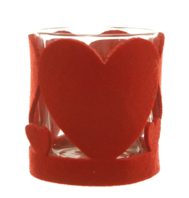 No-woven red heart candle holder felt