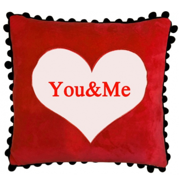 Red you and me pillow