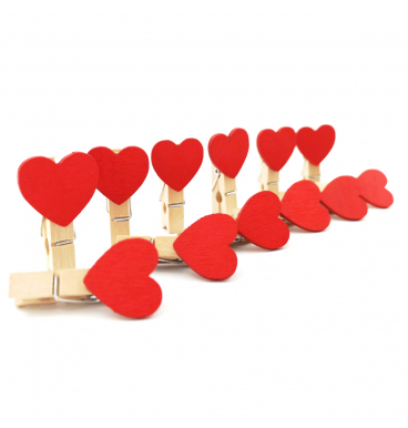 Red heart shaped pegs