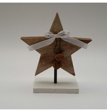 Star natural with bells and ribbon