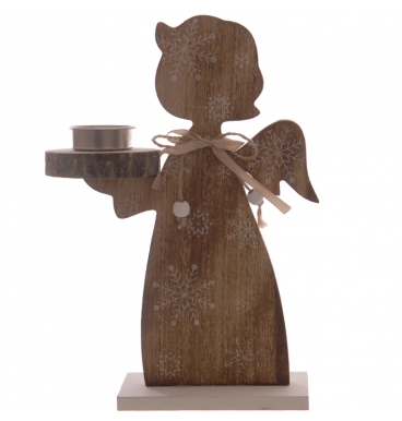 Wooden angel candle holder with ribbon