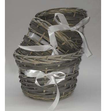 White ribbon baskets set 3 piece