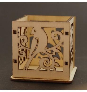 Wooden candle holder bird