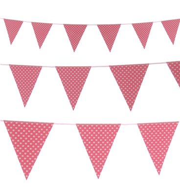 White dotted paper bunting pink