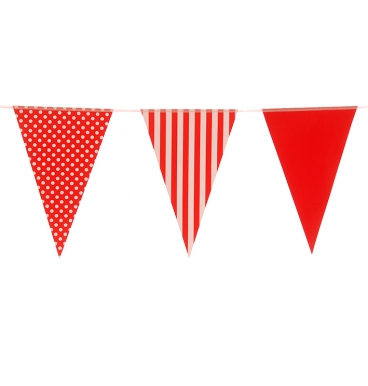 Paper bunting mixed design red and white