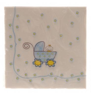 Blue pram paper serviettes