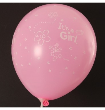 Pink balloon that reads Its a girl
