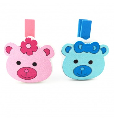 Pink and blue bear pegs