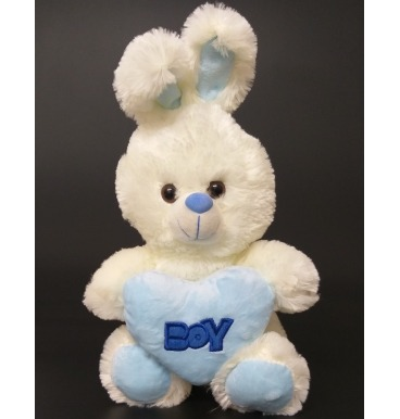 Boy blue bunny plushie thats holding a heart that reads Boy