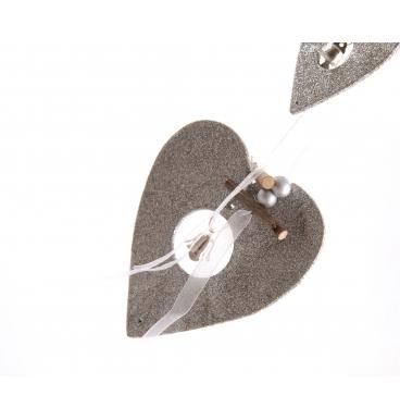 Hanging heart decor grey
