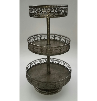 Cake stand with three tiers and fade olive metal colour