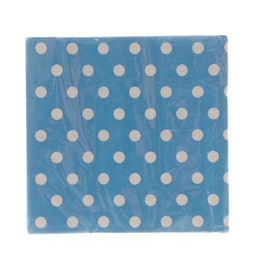 Blue paper napkins dotted