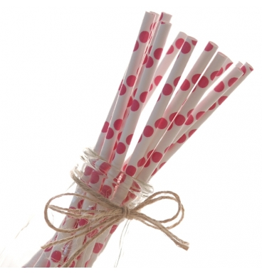 Pink dotted paper straws