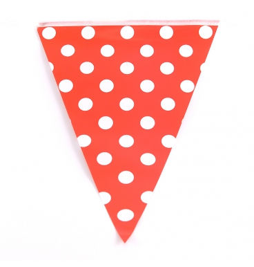 Large dot red party paper bunting