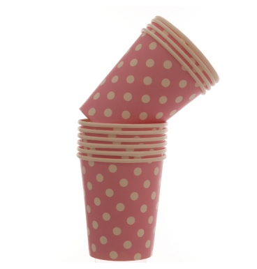 Medium dotted pink paper cups
