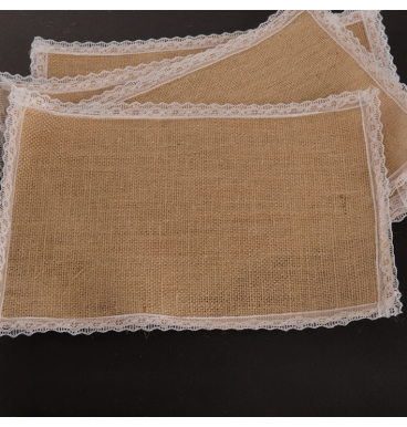 Natural hessian place mats with white lace edge