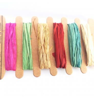 Various colour raffia ribbons pack