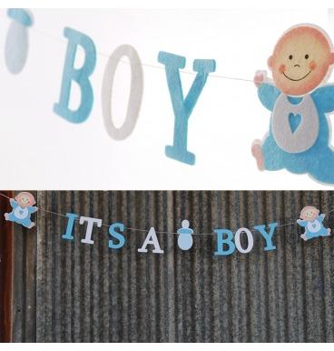 Baby boy blue felt banner