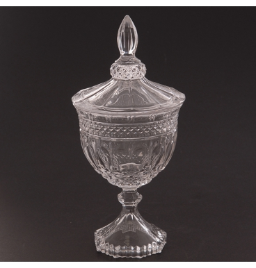 Round footed glass vase with lid