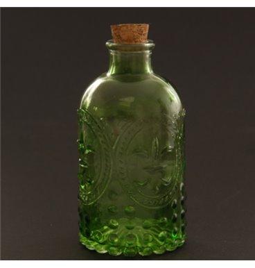 Green embossed glass bottle