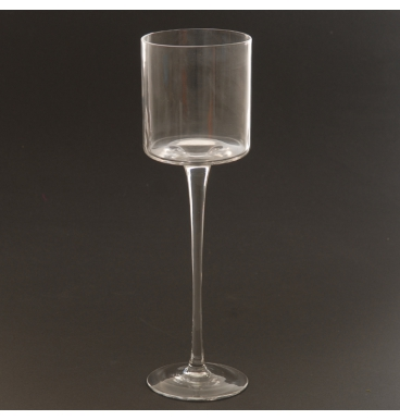 Clear glass candle holder large