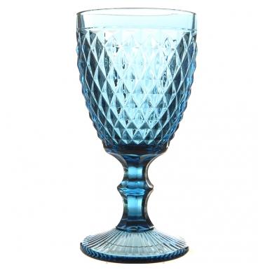 Blue wine glass with diamond pattern