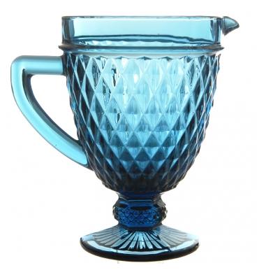 Blue jug with diamond pattern