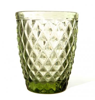 Green drinking glass with diamond pattern