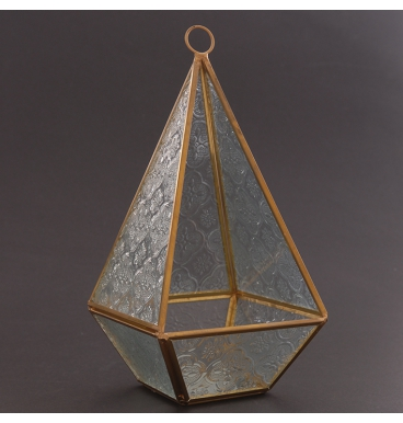 Tall terranium gold with pattern glass
