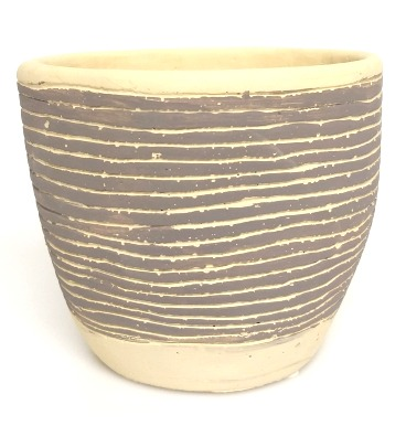 Grey striped pot