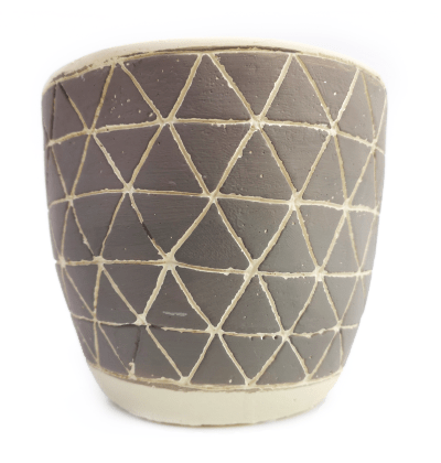 Black diamond pattern pot