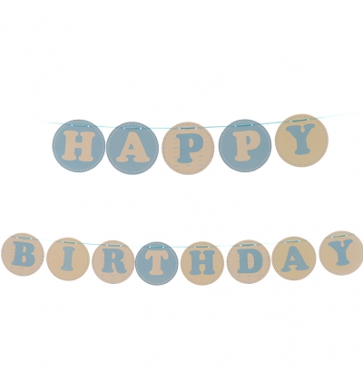 Happy birthday circle blue bunting