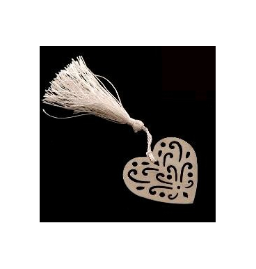 Silver heart bookmark with a tassel