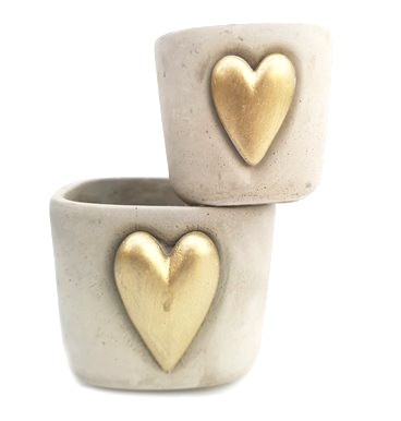 Bold gold heart pot