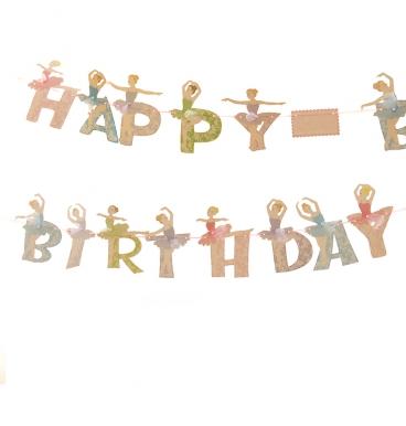 Happy birthday bunting ballerina themed