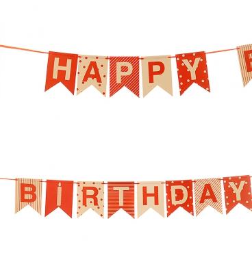 Red multi pattern happy birthday bunting