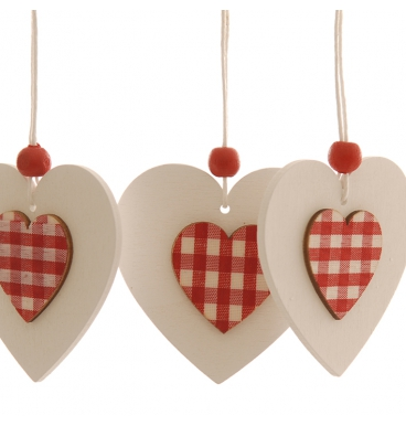 Red checkered layered hearts on a string