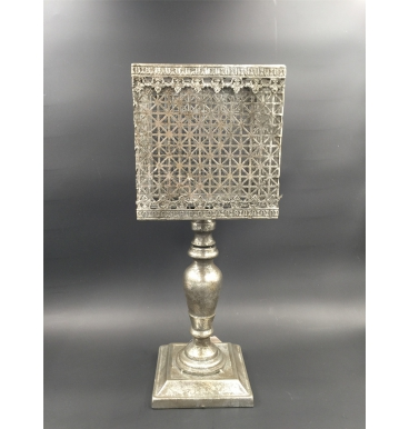 Silver lampshade candle holder