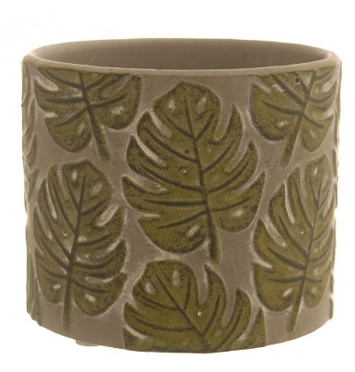 Green leaves embossed pot