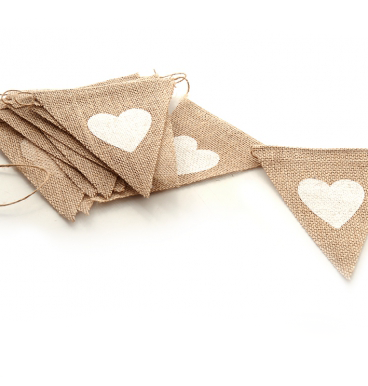 Hessian bunting with a white heart