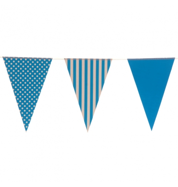 Mixed design blue party paper bunting